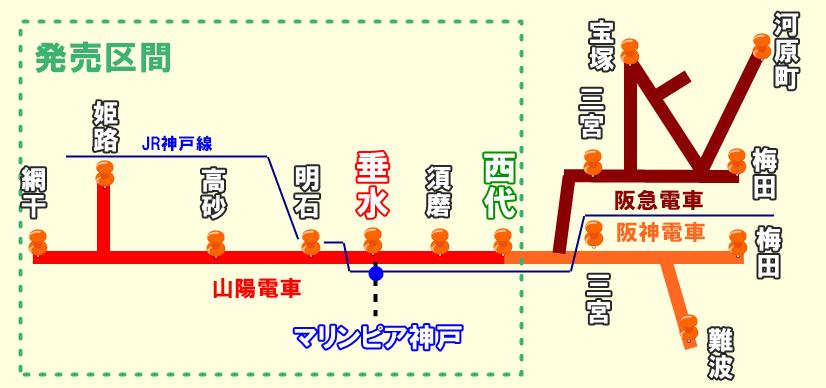 山陽電車「マリンピア神戸きっぷ」の発売期間