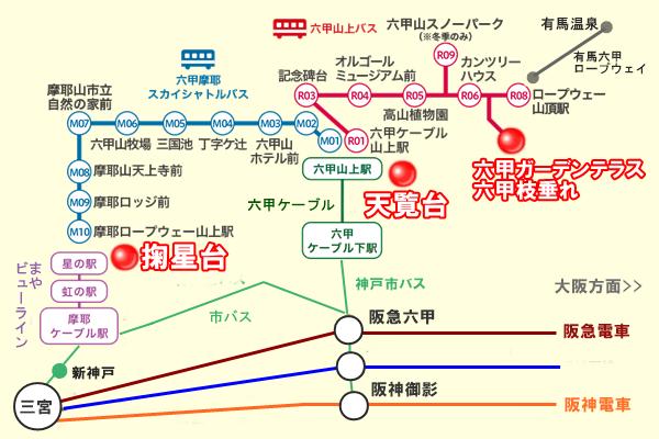 神戸の摩耶山、六甲山の夜景観賞スポットへのアクセス