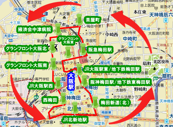 大阪梅田「うめぐるバス」路線図(ルート)