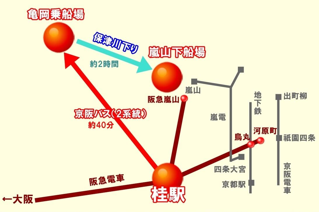 京阪バス「保津川下りセット乗車券」の内容、ルート