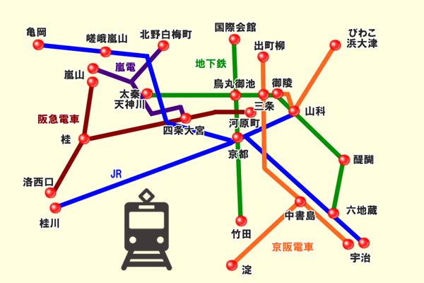 「歩くまち・京都レールきっぷ」で乗り放題できる範囲図