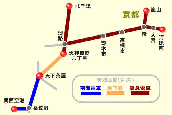 「関空アクセスきっぷ」「京都アクセスきっぷ」の有効区間