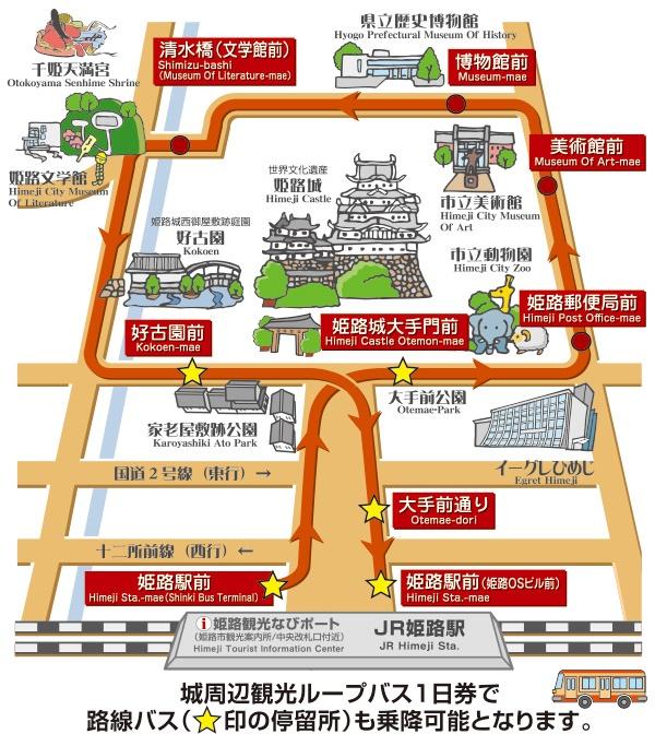 「姫路城ループバス」の路線図