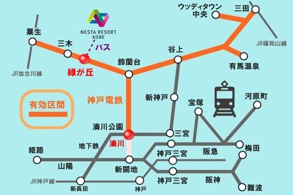 神戸電鉄の「ネスタリゾート神戸(電車・バス&プール)格安クーポン」の有効区間