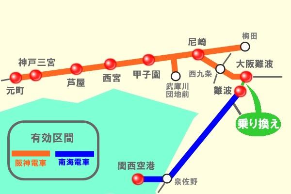 神戸~関空の阪神&南海「アクセスきっぷ」有効区間図
