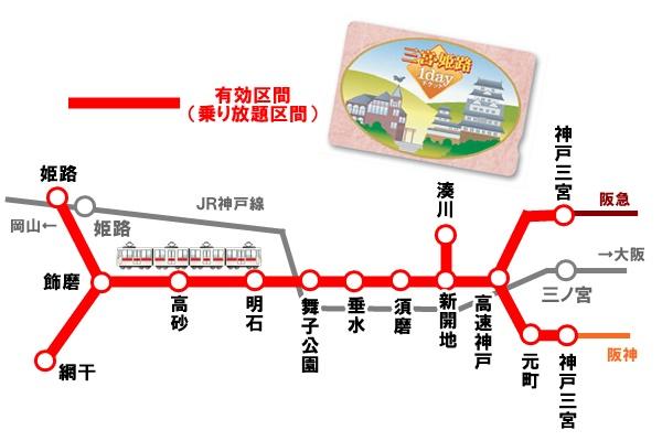 山陽電車「三宮・姫路1dayチケット」の乗り放題区間