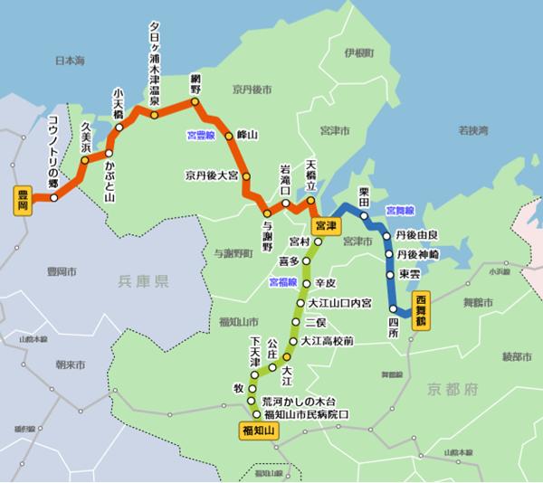 京都丹後鉄道「海の京都、天橋立・伊根フリーパス」の乗り放題区間図