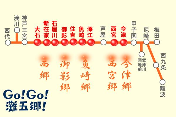 阪神電車「灘五郷酒蔵めぐり1dayチケット」の乗り放題区間