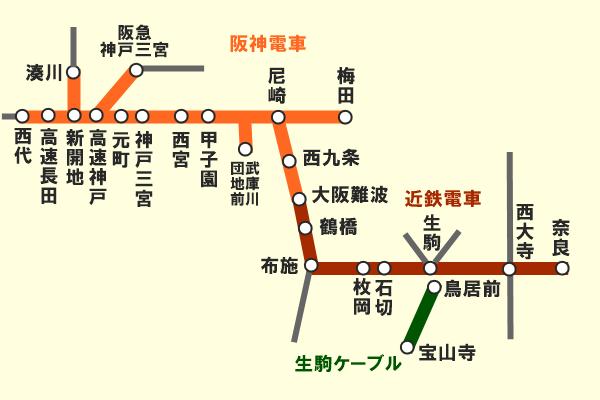 「阪神・近鉄初詣1dayチケット」の有効区間(乗り放題できる範囲)