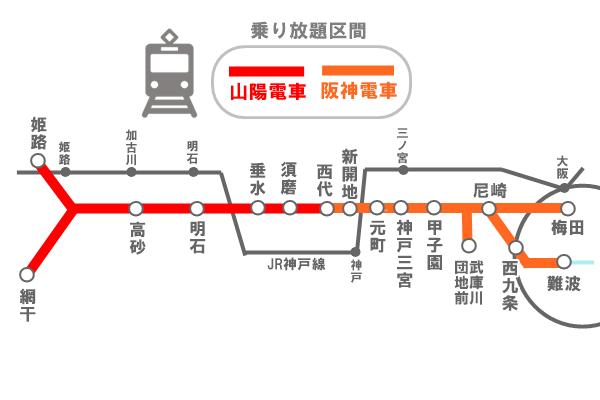 大阪~姫路の「阪神山陽シーサイド1dayチケット」で乗り放題できる範囲