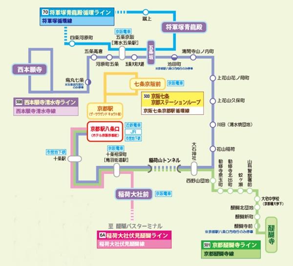 京都「地下鉄・バス一日券」の京阪バス利用範囲