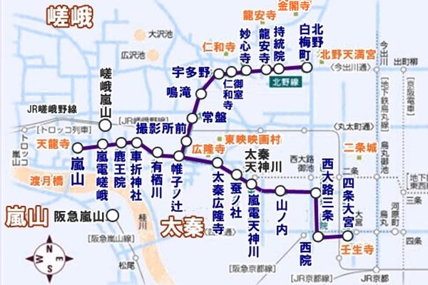 「嵐電・映画村セット券」嵐電の路線図(乗り放題)