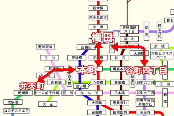 大阪地下鉄(メトロ)「迂回定期券」の具体例