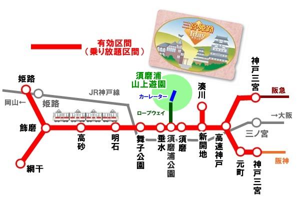 三宮・姫路1dayチケットの有効区間(乗り放題)