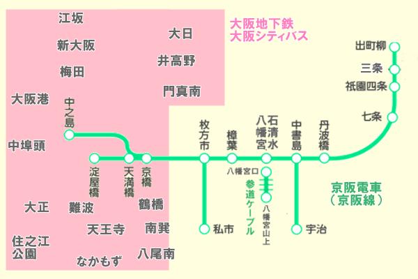 「京阪・大阪メトロ1日フリーチケット」の乗り放題範囲