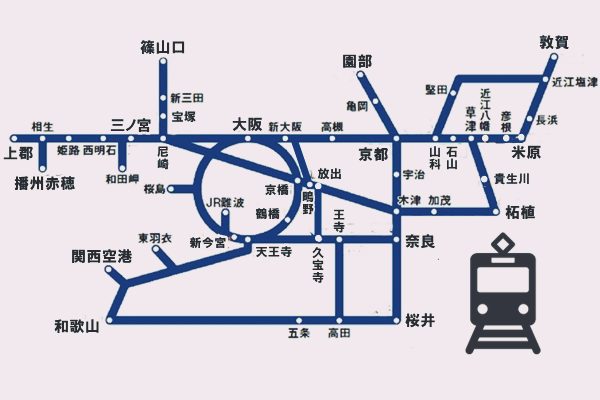 「関西1デイパス」のJR乗り放題範囲図