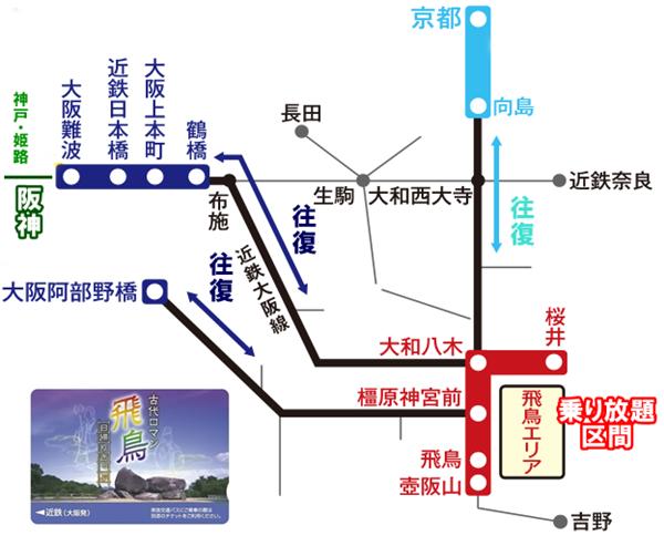 近鉄電車「古代ロマン飛鳥日帰りきっぷ」の有効区間と乗り放題範囲