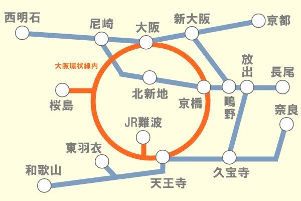JR、大阪の電車特定区間