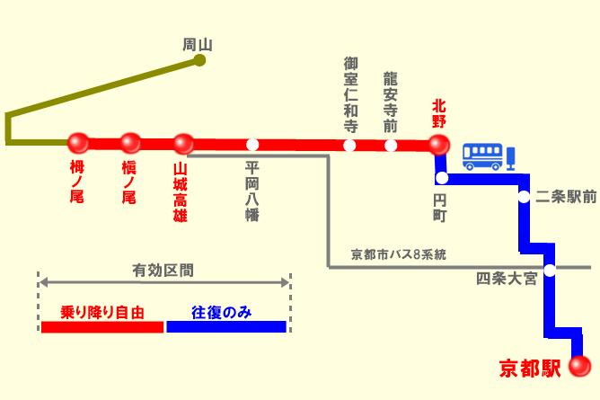 JRバス「高雄フリー乗車券」の有効区間