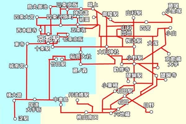 京都「地下鉄・バス一日券」の京阪バス利用範囲(乗り放題)