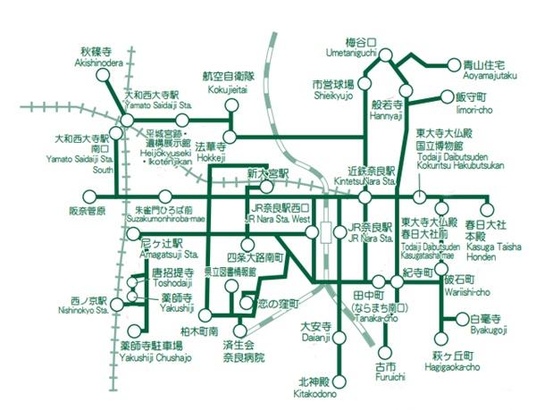 奈良市内のバス1日乗り放題「木簡型1日乗車券」の有効区間