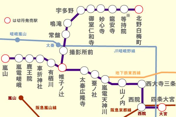 嵐電路線図(1日フリーきっぷ乗り放題)