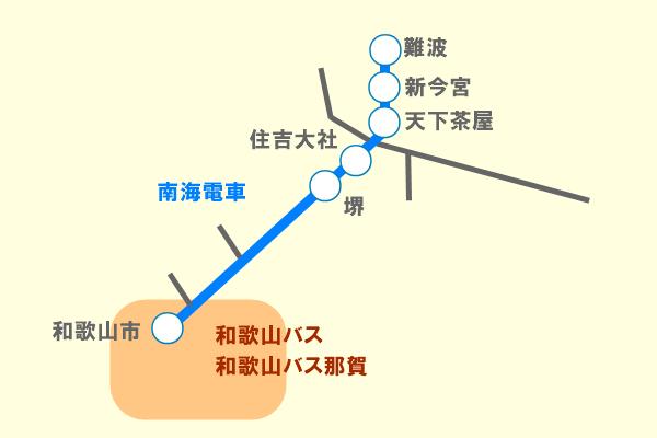 南海電車「和歌山観光きっぷ」の有効区間