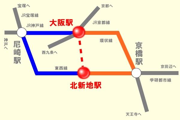 JR大阪駅・北新地駅の選択乗車