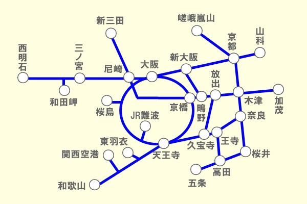 JR「関西近郊 休日ぶらり旅きっぷ」の発売地域
