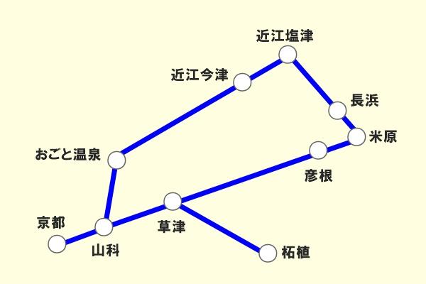 JR西日本「地域共通クーポン限定自由周遊きっぷ」滋賀版の乗り放題範囲