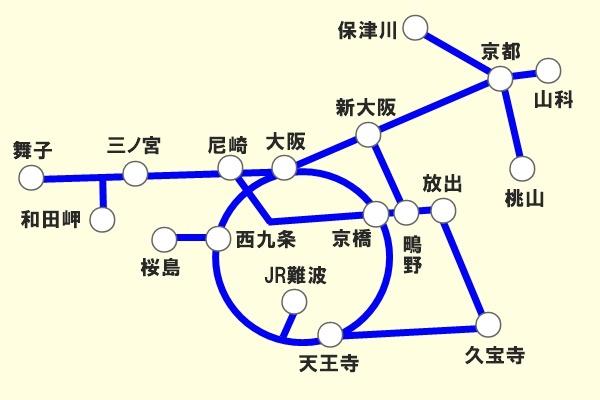 JR西日本「地域共通クーポン限定自由周遊きっぷ」京阪神版の乗り放題範囲