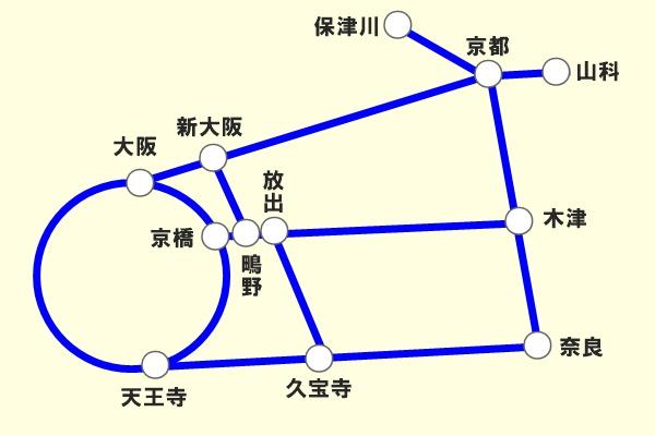 JR西日本「地域共通クーポン限定自由周遊きっぷ」京阪奈版の乗り放題範囲