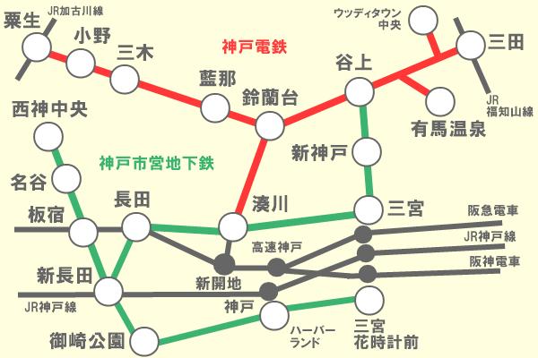神戸電鉄、神戸市営地下鉄「おもてなしきっぷ」有効区間(乗り放題範囲)