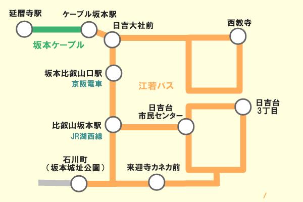 坂本周遊バス・ケーブル1日乗車券の乗り放題範囲
