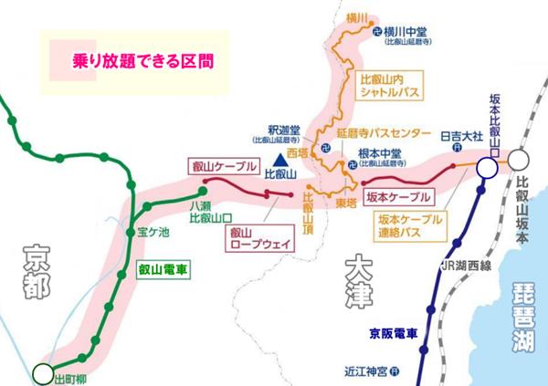 「比叡山フリーパス」の乗り放題範囲