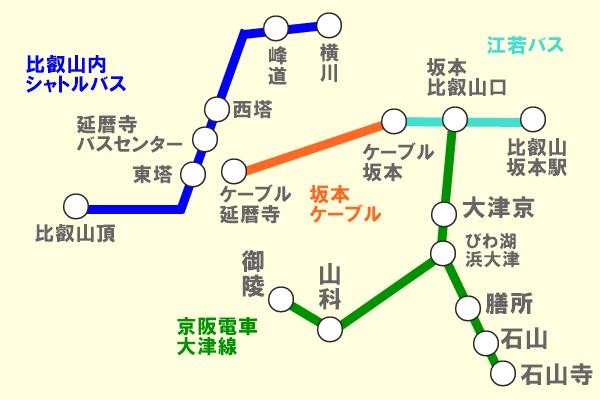 京阪「比叡山延暦寺巡拝・大津線きっぷ」の乗り放題範囲