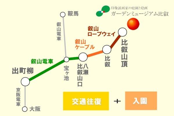 叡山電車「ガーデンミュージアム比叡入園引換券付き往復乗車券」の内容、値段、発売期間、購入方法
